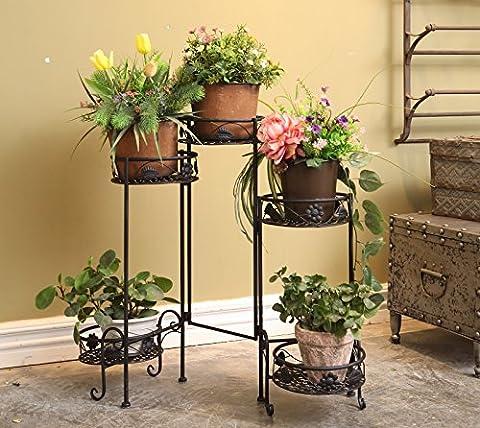 5 tablettes en métal-pieds pour Pot de fleurs d'intérieur et