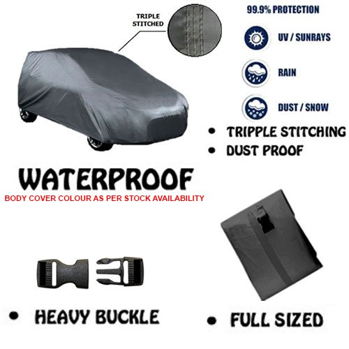 Fabtec Original Waterproof Double Stitched Black Light Weight Car Body Cover For New Tata Indica V2 (Tirpal)