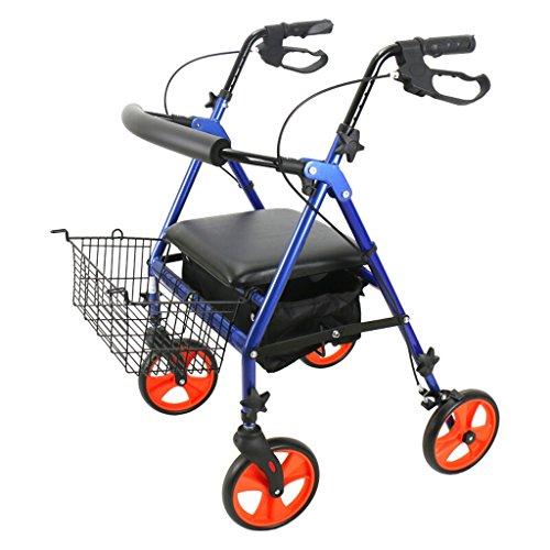 LIU UK Faltender Rollator Erwachsener Aluminiumwalker mit 10 Zoll Rädern, blau