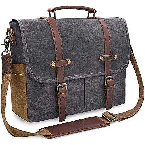 ATR Umhängetasche Herren Laptop Schulter Leinwand wasserdichte Computer Aktentasche Notebook Vintage Satchel Designer Schultaschen Khaki 15,6 Leder (Farbe: Schwarz, Größe: 38,5 * 11 * 31 cm) -