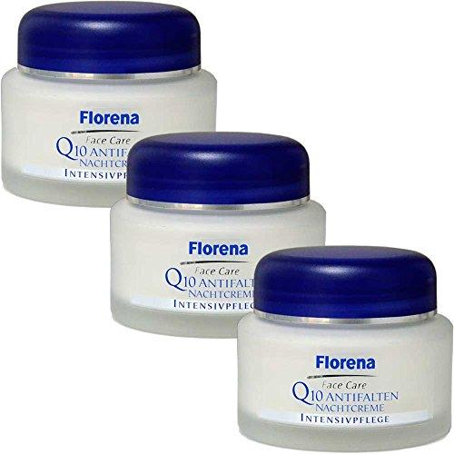 3x Florena Q10 Anti-Falten Nachtcreme - 50ml Intensivpflege Gegen Hautalterung