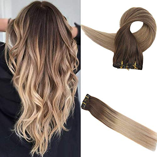 Easyouth Clip in Extensions Haarverlängerung 18 Zoll 100g 10Pcs Pro Paket Farbe 4 Mittelbraun Fading Zu 18 Ash Blonde Fading Zu 27 Honig Blonde Hair Extension Clip in Extensions Lockig
