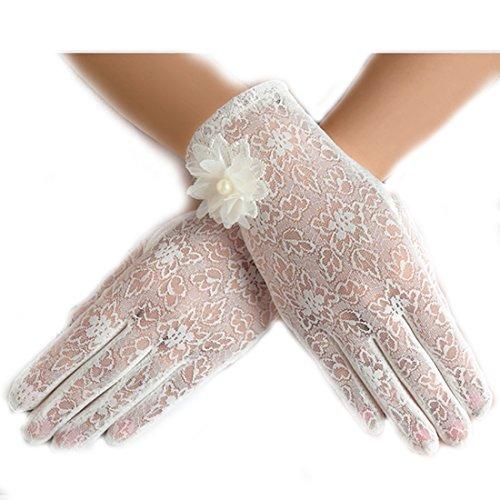 URSFUR Damen Schöne Hochwertige Spitze Sommer Sonnenschutz Handschuhe Netzhandschuhe spitzenhandschuhe Brauthandtuche - weiß