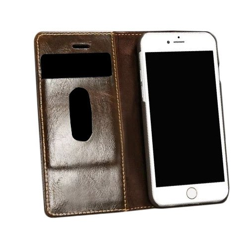 F8Q premium de luxe Portefeuille cartes en cuir Flip Magnetic Case Stand Cover pour iPhone 7 marron