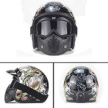 Cara Abierta Moto Casco Moto Cascos Protectoras Visera Solar Extraíble Casco Scooter Moda Impresión D.O.T Certificación