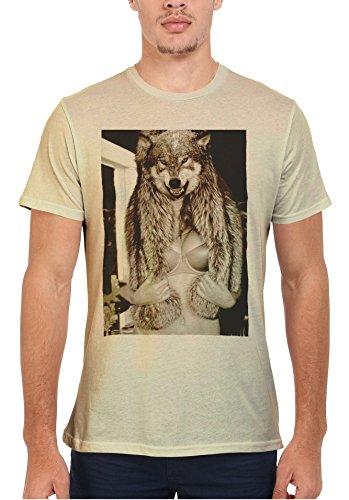 Wolf Head Naked Boobs Sexy Women Men Women Damen Herren Unisex Top T Shirt Sand(Cream)