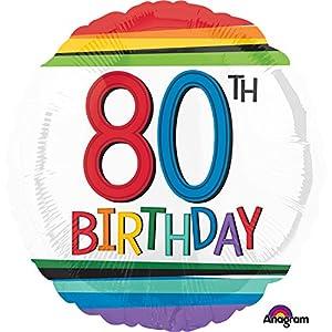 Amscan International 3443901 cumpleaños 80 Globo de lámina, arcoíris