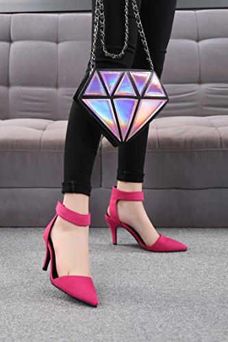 SEXYHER Mode 2.8IN Talons Bureau De Sandales Femmes Chaussures-1298 Rouge