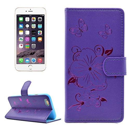 Phone case & Hülle Für iPhone 6 Plus / 6s Plus, Bronzing Butterfly Pattern Horizontale Flip PU Ledertasche mit Halter & Card Slots & Wallet ( Color : Purple ) Purple