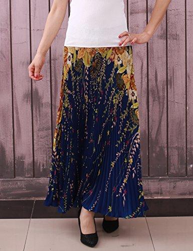 Relaxfeel Taille Haute Froncée de La Femme Formelle Longue Maxi Jupe Plissée bleu marin