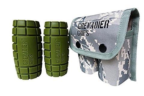 Grenadier Grips–Unique Fat Bar Haltère/Barbell Grips pour grande taille Gains, puissance Explosive, une Force de préhension, Bras de Muscle Builder, crossfit, améliorer l'escalade et lutte, GreenLong