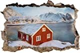 Maison de pêcheur sur l'effet de crayon îles Lofoten Art percée de mur en 3D look, mur ou format vignette de la porte: 92x62cm, stickers muraux, sticker mural, décoration murale