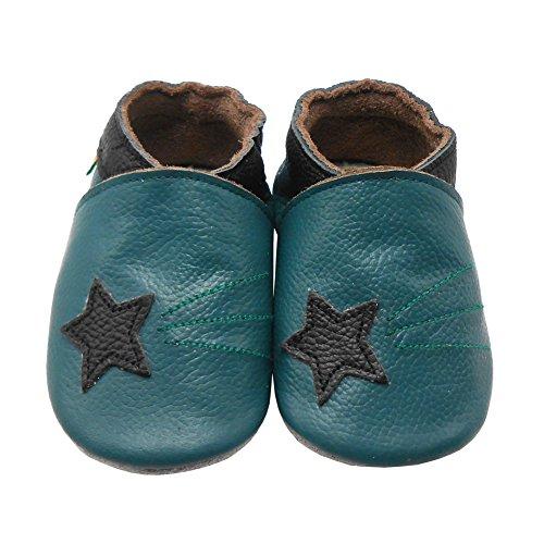 Sayoyo Baby Sterne Lauflernschuhe Leder Weiche Sohle Baby Mädchen Baby Jungen Kugelsicherer Krippe Enfants Schuhes Cyan