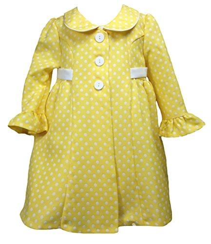 Traumhaftes Set von Bonnie Jean - Mantel + Kleid gelb gepunktet Gr. 86,92,98,104 Größe 92