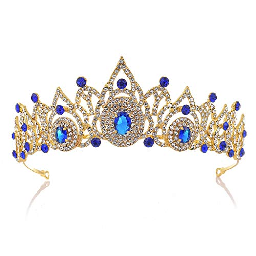 YQN-wedding Brautschmuck Europäischen Zirkon Krone Heiße Hochzeit Haarschmuck Hochzeitskleid Kristallkronen Diademe Mädchen Stirnbänder, Blau