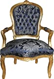Casa Padrino Barock Salon Stuhl Royal Blau Muster/Gold - Möbel Lounge Hotel