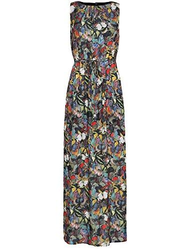 oodji Collection Damen Maxi-Kleid mit Gummizug in der Taille und Bindebändern Schwarz (2919U)