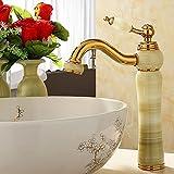 Rmckuva Robinets De Lavabo Robinet d'évier de salle de bain Robinet à levier simple Eau chaude et froide Robinet mélangeur en laiton Blender Robinet de jade Cyan-11