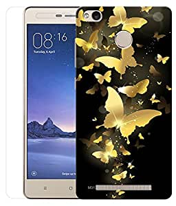 Indiashopers Combo of Golden Butterfly HD UV Printed Mobile Back Cover and Tempered Glass For Xiaomi Redmi 3s Prime