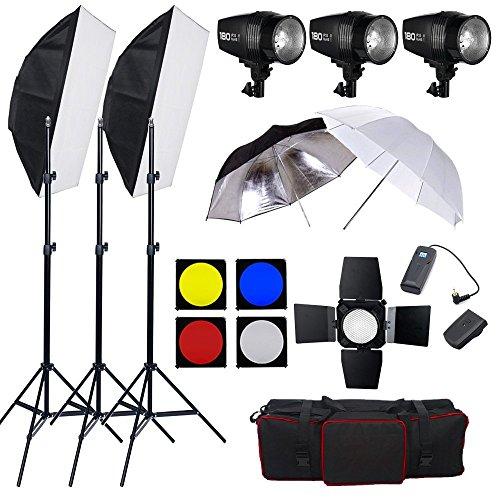 BPS 540W Flash Estudio Fotografía Profesional Kit Completo para el Disparo de Retrato y Vídeo, Fotografía Publicitaria (3* 180W estroboscópica cabeza de flash con 75W lámpara de modelado) - Equipo Fotográfico Adecuado para Fotógrafos Profesionales, Aficcionados y Principiantes
