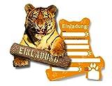 6 Einladungskarten * TIGER * für Kindergeburtstag oder Zoo-Gebeburtstag // von DH-Konzept // Kinder Geburtstag Party Einladung Einladungen Karte Mottoparty Zoo Dschungel Wilde Tiere