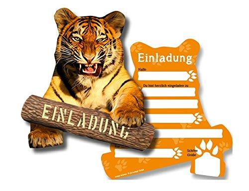 6 Einladungskarten * TIGER * für Kindergeburtstag oder Zoo-Gebeburtstag // von DH-Konzept // Kinder Geburtstag Party Einladung Einladungen Karte Mottoparty Zoo Dschungel Wilde Tiere (Einladungen Safari-geburtstags-party)