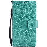 Uposao Custodia Cover Compatibile con Huawei Mate 7, Elegante Fiore del Sole Motivo Premium PU Pelle Flip Cover con Magnetica Shock-Absorption Protettiva Case-(Verde)
