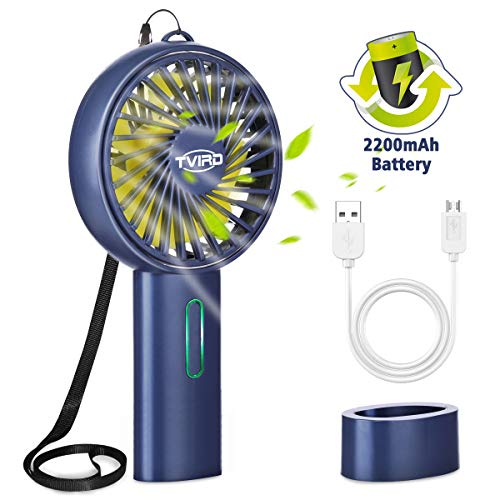 Tvird Handventilator Ventilator Tragbarer Mini Lüfter Wiederaufladbar 2200mAh Batterie und USB Geräuscharm HandheldVentilator 3 Geschwindigkeiten Kompatibel Laptop(mit Schlüsselband) -