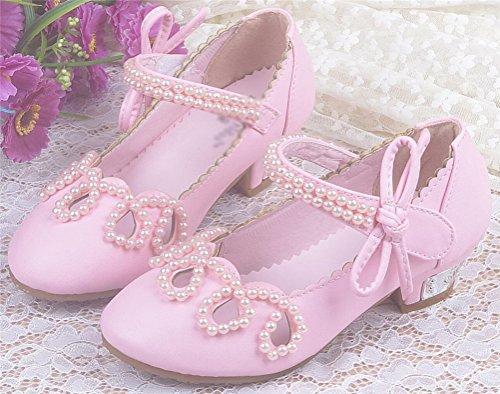 SMITHROAD Mädchen Prinzessin Schuhe Perlen Sandale Kinder Halbschuhe Hochzeit Kostüm Ballerinas Absatz Gr. 24 bis 35 Pink