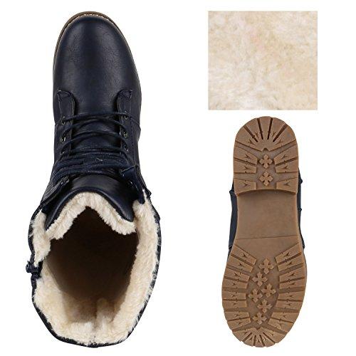 Stiefelparadies Damen Schnürstiefel Warm Gefütterte Stiefel Winter Schuhe Profil Flandell Dunkelblau