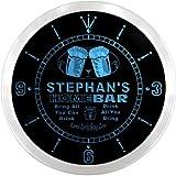 ncp0511-b STEPHAN'S Home Bar Beer Pub LED Neon Sign Wall Clock Uhr Leuchtuhr/ Leuchtende Wanduhr