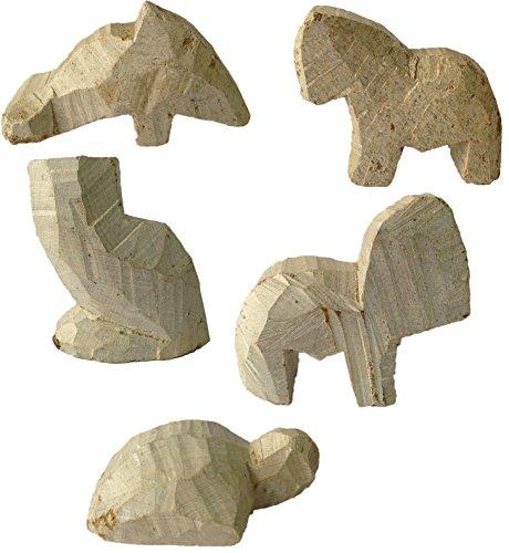 artdee 5 Speckstein Rohlinge, Tier Set 2 - Rohling - Delfin, Pferd, Eule, Elefant & Schildkröte (Speckstein Elefant)