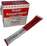 Absperband 500m Feuerwerk Abbrennplatz Sperrzone - Flatterband rot/weiß mit Aufdruck