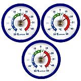 Lantelme 6845 Kühlschrankthermometer Set 3 Stück - Kühlschrank Thermometer Temperaturanzeige + / - 50 °C - Farbe blau