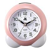 Lancardo Reloj Despertador Analógico de Movimiento Cuarzo Original Plástico Dial Digital con Números Árabes Manos Noctilucentes Silencioso para Uso en Oficina y Estudiante (Rosa)