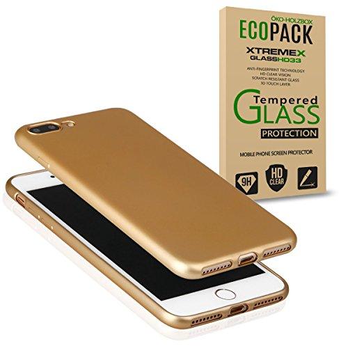 EGO Für iPhone 7 Plus Luxury Case Slim Rot Matt Metallic Bumper Silikon Schale Schutzhülle Anti-Fingerabdruck satin Rückseite Gold + Glas