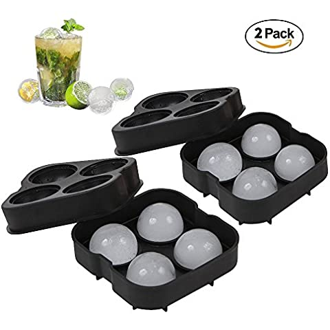 Ecooltek sfere di ghiaccio vassoio stampo sfere per cubetti di ghiaccio in silicone flessibile, 2pezzi 4x 4,5cm Premium Nero ideale per wiskey Cocktail Party Bar bevande Cooler