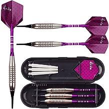 Sanfeng 18 gramos de níquel plateado níquel punta suave dardos con caja de almacenamiento / viaje --Purple aluminio Alu ejes Vuelos para Dartboard electrónico