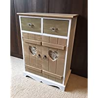 Home Delights Shabby Chic Cupboard Rustic White Wooden Vintage Heart Furniture Bedroom Storage Unit