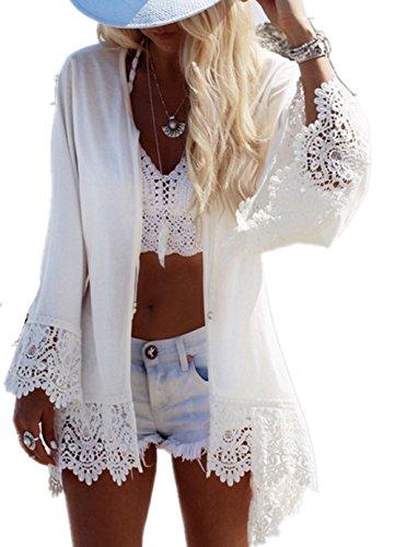 Bikini Cover Up ININUK Bikini Tunika Bluse Spitze Lang Strandkleid Damen Push Up Strandponcho Sommer Kleid Bikini Überwurf Kaftan Strick,Weiß, Einheitgröße (Garten Kaftan)