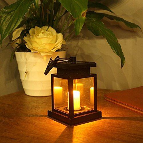Weihnachts-candlelight-lampen (YonganUK Solar Kerze Licht, Garten Outdoor Solar Powered LED Kerze Tisch Laterne Hängende Dekoration Licht für Terrasse Landschaft Yard Weihnachten Festivals Hochzeit Geburtstag, Schwarz)