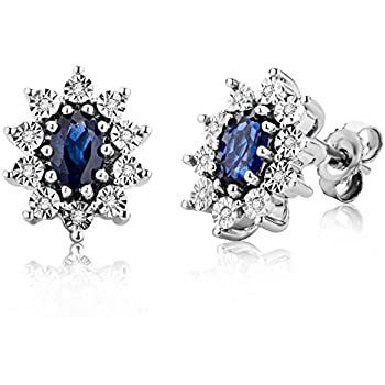 Ladies Sterling 925 Solid Silver 2 CT Brilliant Cut White Sapphire Stud Earrings