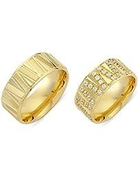 Paarpreis Trauringe 585 gold gelbgold Zirkonia + Gravur Eheringe Modell Infinito22G