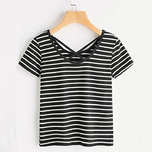Bekleidung Longra Damen Sommer T-shirt Frauen Stripe Rose Print Baumwolle  Tank Top Sommer Kurzarm ...