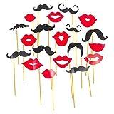 Stylish & Fashionable Lips & Moustache Selfie Prop Kit For Parties! Pre Assembled 20pcs.