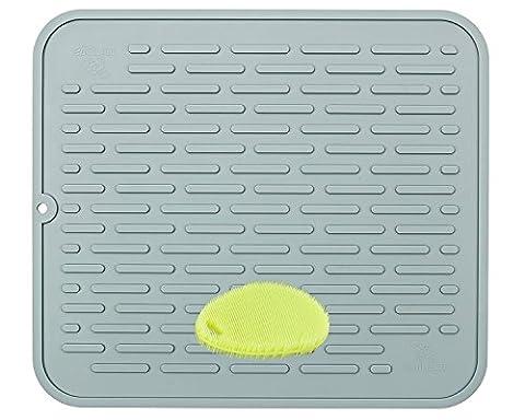 Extra große Silikon dish-drying Matte & hitzebeständig Untersetzer | antimikrobiell, antibakteriell | 45,2x 40cm, grau, xl