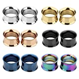 JSDDE Piercing,12er Set 6-Farben Edelstahl Schraub Tunnel Plugs Double Flared Flesh Tunnelset 3mm-25mm Ohrpiercing(16mm)