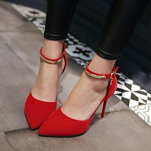 COOLCEPT Damen's Mode-Event D-Orsay Sandalen Shoes Kn?chelriemchen Schuhe Stiletto 747 Rot