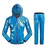 GWELL Unisex Regenanzug Wasserdicht Winddicht Regenjacke + Regenhose Regenbekleidung Set Blau L