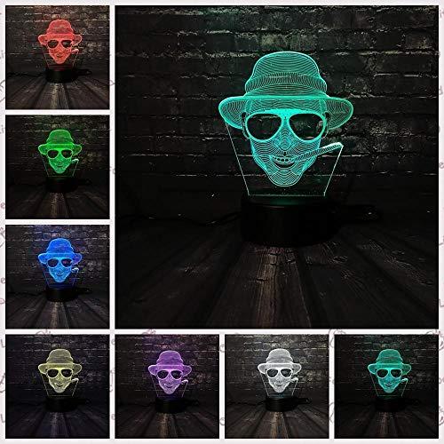 zcmzcm 3D Nachtlichter Led Nachtlicht Cool Man Sonnenbrille Junge Dekoration Lampe Schlafzimmer Schlaf Licht 7 Farbwechsel Kid Boy Geschenk Spielzeug